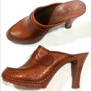 Leather Mule Heels Clogs Fits Like 8 Made Italy